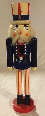 Vintage Uncle Sam Wooden 13 Inch Christmas Nutcracker Patriotic Decoration