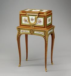 Jewel coffer on stand : Coffer attributed to Martin Carlin (French, near Freiburg im Breisgau ca. 1730–1785 Pariis. Factory: Porcelain plaques by Sèvres Manufactory