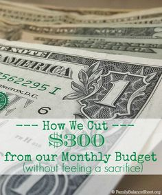 Are you looking for ways to cut your monthly spending? With some action and planning, my husband and I were able cut $300 out of our monthly budget over the last year without feeling like we were making a significant sacrifice. Find out how!