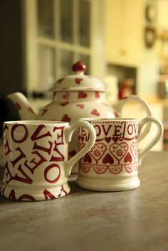 Emma Bridgewater Pink Hearts teapot, Love All Over and Sampler mugs