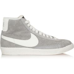 Nike Blazer perforated suede high-top sneakers ($125) ❤ liked on Polyvore featuring shoes, sneakers, grey, nike sneakers, high top trainers, nike footwear, nike shoes and lace up high top sneakers