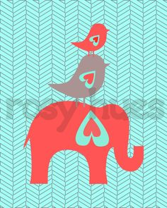Elephant and Birds Nursery Print, Coral and Aqua- Kids Wall Art, Nursery art, Baby Girl Nursery. $14.00, via Etsy.