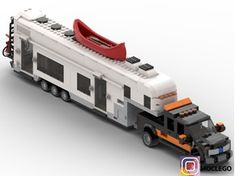 LEGO Fifth wheel camping with pick-up - building instructions and parts list. Lego Cars, Lego Auto, Train Lego, Lego Camper, Lego Track, Pick Up, Technique Lego, Hot Wheels Storage, Lego Wheels