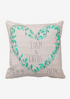 Personalized Teal Heart Wedding Pillow Cotton. A wonderful gift option!