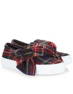 Multi Tartan Bow Sneakers