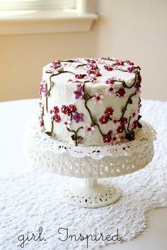 I'm calling this the Secret Garden Cake because that's what kept running through my mind as I was decorating it. It was so, so beautiful, I just want to have it on display in my craft room.  The light pink and lavender flowers were made from homemade marshmallow fondant, which was rolled and cut out with flower cutters... Read More »