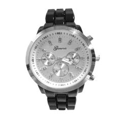 Geneva Women's Black / Silver Plastic-Acrylic Link Bracelet Large Face Faux Chronograph Watch with Silver Dial and Rhinestone Hour Markers-BLK-SIL Geneva. $14.50. Quartz Movement. Large Face Watch with Faux Chronograph sub-dials. Stainless Steel Back Cover. Plastic three-link band with fold-over-clasp