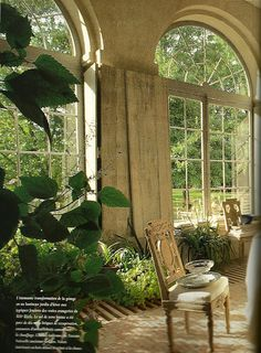 French orangerie via Cote Ouest; sometimes no window covering is best