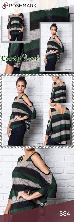 ✨COMING SOON!!✨ 🆕Gorgeous Batwing Cold Shoulder Sweater in Green, Black and Grey colors...amazing for Fall🍂....If you'd like to be notified when it arrives please tag me below or like this listing...you'll be the first to know!🔴PRICE WILL BE FIRM UNLESS BUNDLED🔴 LDB Tops