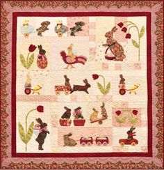 """This twelve block 52"""" x 54"""" Quilt is called """"Rabbits Prefer Chocolate"""". Designer Anne Sutton said the quilt was inspired by vintage chocolate molds with each block having it's own personality. This is truly an heirloom quilt that will be enjoyed for years to come!"""