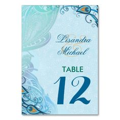 Peacock Lace Elegance Wedding Table Number Card Table Cards