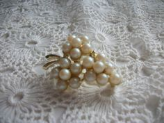 Pearl and Goldtone Brooch  Collectible Vintage by DEWshophere, $8.00