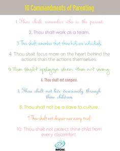 The 10 Commandments of Parenting: No, we're not Moses, and they're not on stone tablets, but we've used our years of collective mom experience to zero in on the essential do's and don'ts. #parenting #10commandments