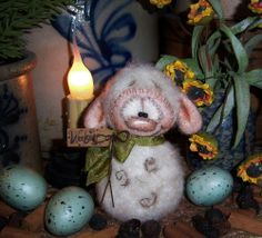 "Primitive Fuzzy Sheep 4"" Lamb Easter Spring Doll Vtg Patti's Ratties Bear Ornie"