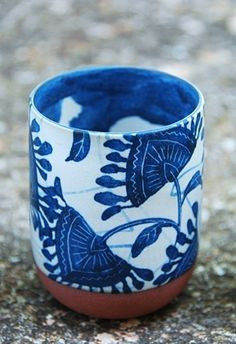 blue-white-stone-cup - Once Wed