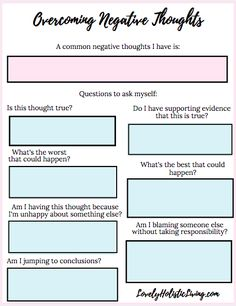 How to Overcome Negative Thoughts and Be More Positive + Free Worksheet Lovely Holistic Living Mental Health Counseling, Mental And Emotional Health, Social Emotional Learning, Health Education, Physical Education, Special Education, Science Education, Therapy Worksheets, Therapy Activities