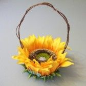 Sunflower flower girl basket (by White Thistle Bridal)