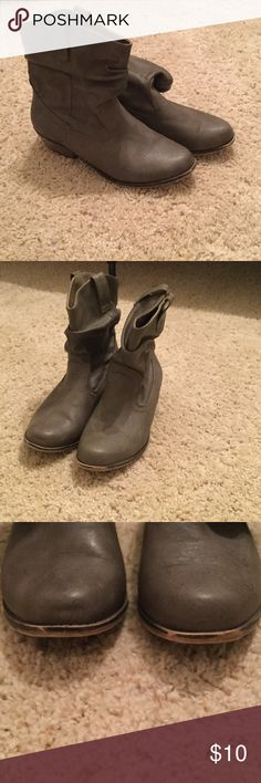 Qupid Short Western Style Booties Only worn a couple times but have a few scuffs on the front and back and wear on the bottom of the shoes which can be seen in pictures 3 and 4. In good condition! Greyish-brown color Qupid Shoes Ankle Boots & Booties