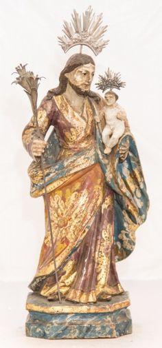 Imagem de São José com O Menino, madeira policromada. Bahia, século XIX. Não vendida. Preço base 980,00