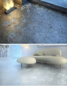 These genius floral design imprints provide a wonderful counterpoint to the cold concrete on which they are impressed.