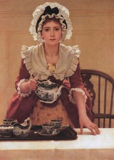 Tea by George Dunlop Leslie (1835-1921) in 1885. A young woman in the dress of the 1700s -- a red polonaise dress over a flowered petticoat, a white fichu about her shoulders with a nosegay of yellow primroses tucked into it, and a beribboned mobcap -- standing behind a table covered with a white cloth. She is about to serve tea from a blue willow tea set. Cups with spoons, cream jug, and sugar bowl with lump sugar are all ready on a tray. Behind her is a wooden chair and a white panelled…