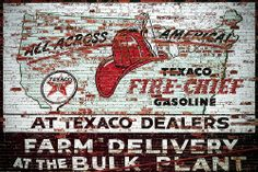 An old Texaco advertisement scrolled on a brick wall in Lewistown, Montana.  There are lots of old signs dotting Montana's landscape. This just happens to be one of them; found on the backside of a building while scouting Lewistown, Montana.  Traveli . Own your very own Texaco Sign!  Take a look at at all these great signs I found for your mancave all oil and gas industry, all starting at a penny