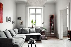 A Swedish home in greys, white and black