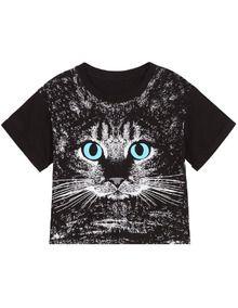 Cat Print Short Sleeve Crop Tee