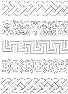 Image of some borders Border Embroidery Designs, Quilting Designs, Embroidery Patterns, Quilting Stencils, Wood Burning Patterns, Wood Patterns, Quilt Patterns, Celtic Symbols, Celtic Art