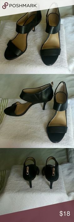 Ann Taylor Sexy black leather heels Very sexy Ann Taylor leather heels with back.zips. They have been worn as shown in pics but the upper is in mint condition. Ann Taylor Shoes Heels
