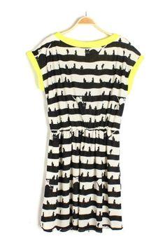 Kitten Print Stripe Dress