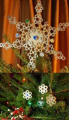 DIY tree topper made from hex nuts