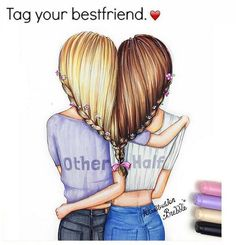 Bff bff drawings, best friend drawings και drawings of friends. Bff Pics, Bff Pictures, Best Friend Pictures, Pictures To Draw, Bff Drawings, Pretty Drawings, Beautiful Drawings, Drawings Of Hair, Cute Drawings Of Girls