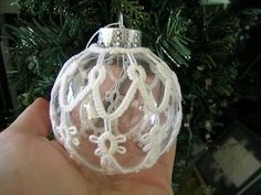 White Cotton tatting Christmas ball ornament.  Covered ball shuttle tatted.