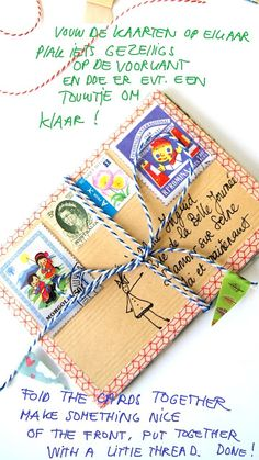 Mail inspiration: washi tape & accordion fold postcards or cardstock together and wrap with baker's twine.