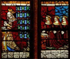 Queen Elizabeth Woodville with daughters Anne, Catherine and Bridget Stained Glass Window Canterbury Cathedral North transept