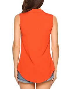 725a867d90a11 Women Casual Sleeveless V Neck Chiffon Blouse Tank Tops at Amazon Women s  Clothing store
