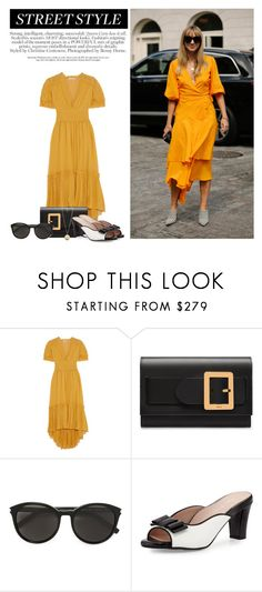 """Street Style, NYFW S/S 2018: Day 3"" by katsin90 ❤ liked on Polyvore featuring Ulla Johnson, Bally, Yves Saint Laurent, Taryn Rose and Givenchy"