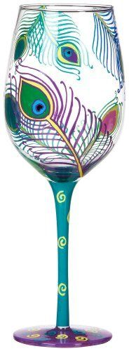 Florida Marketplace Peacock Feathers Goblet by Florida Marketplace