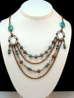 Blue Sky Jasper Necklace in Rustic Antique Copper | byBrendaElaine - Jewelry on ArtFire