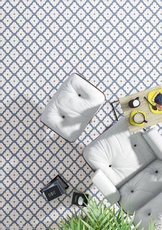 Charlsworth Blue Victorian Encaustic Effect Porcelain Wall Floor Tiles 20 x 20cm