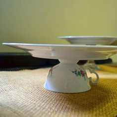 diy cakestands; love the teacup, sturdier than a candlestick.