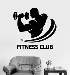 Vinyl Wall Decal Fitness Club Logo Gym Bodybuilding Sports Decor Stickers (ig3529)