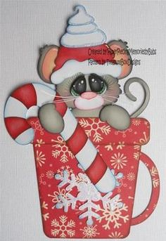 paper piecing christmas | Premade Paper Pieced Christmas Mouse for Scrapbook Page by Babs | eBay