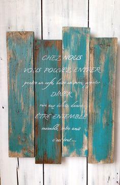 Panneau tableau personnalisable en bois de palette vintage design : Décorations murales par littlepalette