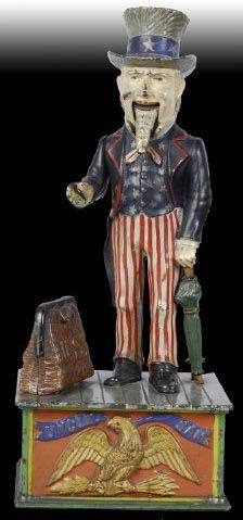 Cast Iron Uncle Sam Mechanical Bank - - Photo courtesy of Morphy Auctions