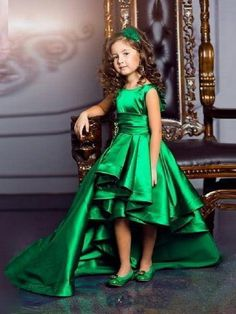Stunning High Low Girls Pageant Dress Green Satin A-Line First Communion Dress, Kids Formal Wear Flower Girls Dresses ,for Wedding Princess Flower Girl Dresses, Cheap Flower Girl Dresses, Girls Pageant Dresses, Little Girl Dresses, Cute Dresses, Flower Girls, Baby Pageant, Pageant Gowns, Party Dresses For Girls
