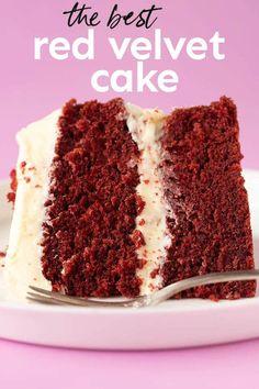 Res Velvet Cake, Best Red Velvet Cake, Homemade Red Velvet Cake, Red Cake, Red Velvet Desserts, Red Velvet Recipes, Just Desserts, Delicious Desserts, Grooms Cake Tables