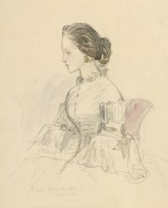 A female figure dated 26 April 1859 by Empress Friedrich Royal Collection Queen Victoria Children, Queen Victoria Prince Albert, Victoria's Children, King Of Prussia, Cool Art Drawings, Prince Harry And Meghan, Unique Photo, Royals, Sketches