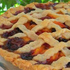 Summer is Here Triple Berry Peach Pie - Pie's - Peach Pie Recipes, Tart Recipes, Cooking Recipes, Just Desserts, Delicious Desserts, Yummy Food, Pie Dessert, Dessert Recipes, Triple Berry Pie